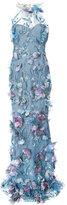 Marchesa floral appliqué halter gown
