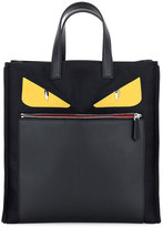 Fendi Monster Creature Tote Bag w/Leather Details, Black
