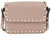 Valentino Rockstud Small Flap-Top Crossbody Bag, Beige