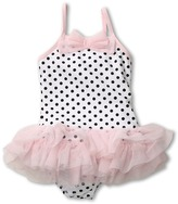 Kate Mack Ballerina Dots Tank Swimsuit (Toddler) (White/Black) - Apparel