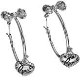 GUESS UBE81140 Ladies' Creole Earrings Stainless Steel Rhodium-Plated Crystal Zirconia Drop Hoop White