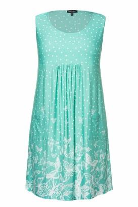 Ulla Popken Women's Plus Size Pretty Print Knit Tank Tunic Dress Aqua Green Multi 24/26 747523 45-50+