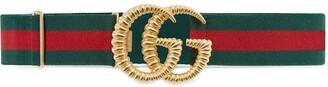 Gucci GG-embellished striped belt