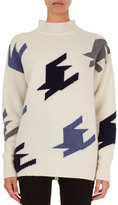Victoria Beckham Oversized Geometric Knit Cashmere Mock-Neck Sweater