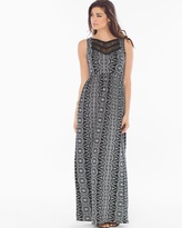 Soma Intimates Lace Neckline Maxi Dress Eyelet Stripe Black RG