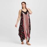 Xhilaration Women's Plus Size Floral Handkerchief Dress Black Floral