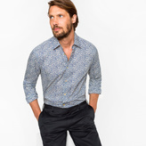 Paul Smith Men's Tailored-Fit 'Drawn Floral' Print Cotton 'Artist Stripe' Cuff Shirt