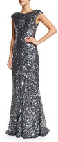 Rachel Gilbert Alyssa Cap-Sleeve Sequined Gown, Silver