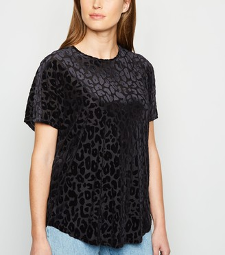 New Look Flocked Leopard Print Mesh T-Shirt