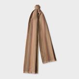 Men's Signature Stripe Wool And Silk Scarf
