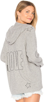 Lauren Moshi Cali Lace Up Front Hoodie in Gray