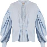 Burberry Lillum balloon-sleeve striped cotton shirt