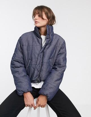 WÅVEN denim padded jacket with circle zip puller-Navy