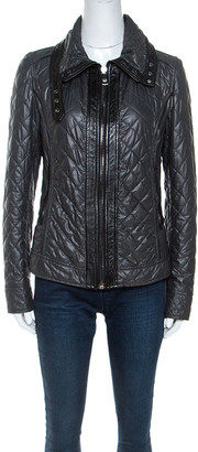 Dolce & Gabbana Dark Green Leather Trim Quilted Biker Jacket M