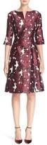 Oscar de la Renta Women's 'Pressed Flowers' Print Silk Mikado Dress
