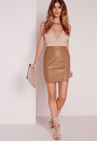 Missguided Faux Leather Mini Skirt In Camel