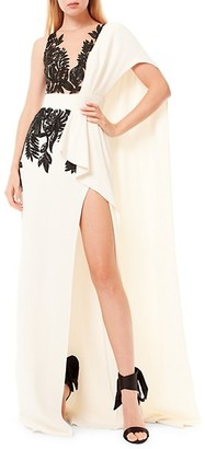 ZUHAIR MURAD Illusion Embroidered Side Slit Gown