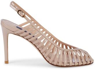 Stuart Weitzman Olive Patent Leather Strappy Slingback Sandals