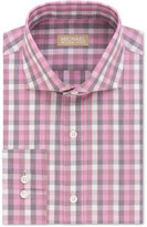 Michael Kors Men's Classic Fit Non-Iron Pink Check Dress Shirt