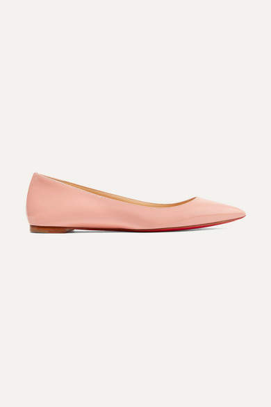 Christian Louboutin Ballalla Patent-leather Point-toe Flats - Antique rose