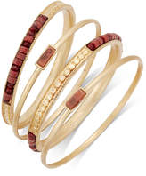 INC International Concepts Gold-Tone 4-Pc. Brown Bead Bangle Bracelet Set, Only at Macy's