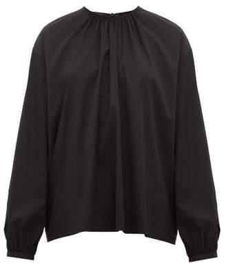 Rochas Tie-neck Cotton-blend Top - Womens - Black