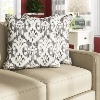 """Winston Porter Cann Outdoor Square Ikat Flange Throw Pillow Size: 18"""" H x 18"""" W x 6"""" D"""