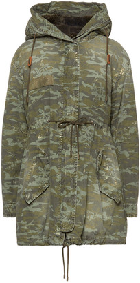 Mr & Mrs Italy Distressed Camouflage-print Cotton Hooded Parka