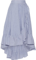Maje Wrap-effect Ruffled Striped Poplin Midi Skirt - Blue
