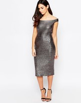 Liquorish Off Shoulder Pencil Dress in Quilted Gun Metal