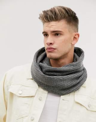 Jack and Jones snood scarf in grey melange