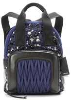 Miu Miu Leather-trimmed Embellished Backpack