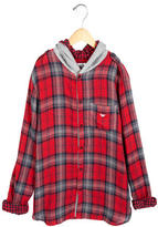 Armani Junior Boys' Hooded Plaid Shirt w/ Tags