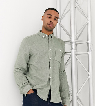 Asos Design DESIGN Tall regular fit brushed twill shirt in green