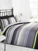 Signature Striped Quilt Duvet Cover and Pillowcase Bedding Bed Set, Grey/Black/Green/White, Single