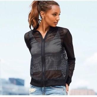 Victoria Secret New Sport Sheer Mesh Bomber Zip Up Jacket Medium Metallic Silver