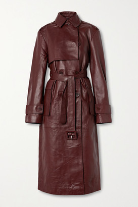 REMAIN Birger Christensen Pirello Double-breasted Belted Leather Trench Coat - Burgundy