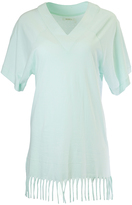 Pacifica Mint Fringe-Trim V-Neck Nightgown