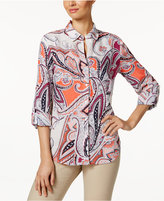 Charter Club Linen Roll-Tab Printed Shirt, Created for Macy's