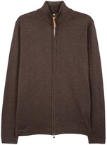 Oscar Jacobson Ariel Brown Fine-knit Wool Cardigan