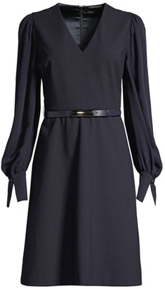 Elie Tahari Hale Belted A-Line Puff-Sleeve Shirtdress