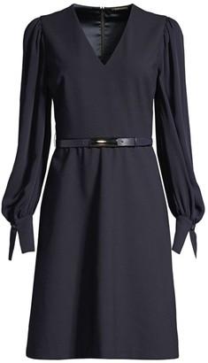 Elie Tahari Hale Belted A-Line Puff-Sleeve Shirtdress