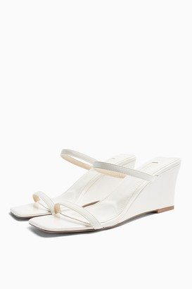 Topshop NORI White Wedge Mules