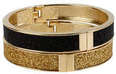 Betsey Johnson Black and Gold Glitter Hinged Bangle Bracelet Set
