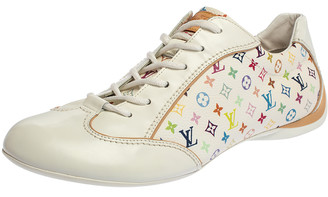 Louis Vuitton White Leather And Multicolor Monogram Canvas Lace Up Sneakers Size 40