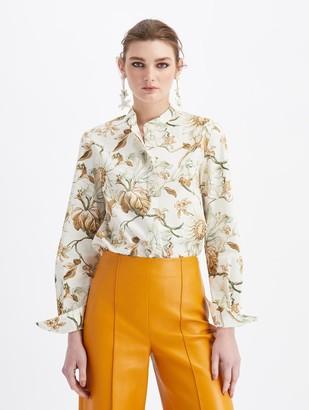 Oscar de la Renta Floral Button Blouse