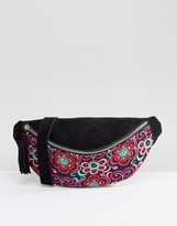 Park Lane Suede Embroidered Festival Fanny Pack
