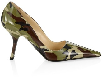 Prada Camo Patent Leather Pumps