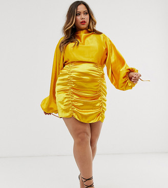 ASOS DESIGN Curve satin mini dress with ruched skirt and blouson top