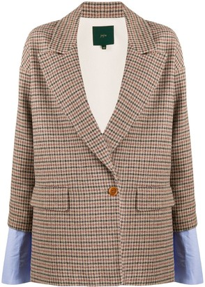 Jejia Double-Breasted Layered Check Blazer